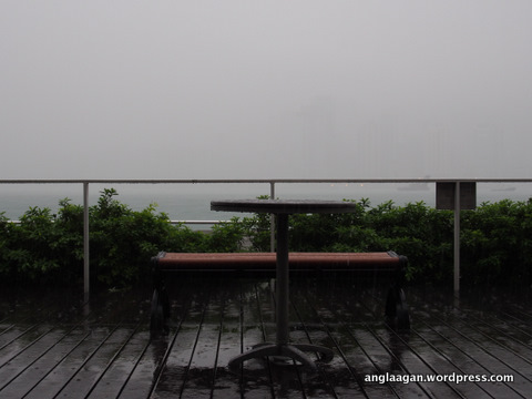 As the thick cloud rolls over the harbour, visibility was reduced to almost nothing.
